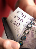 Englisches Geld in einer Mappe Lizenzfreies Stockfoto