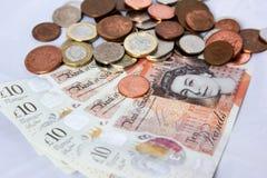 Englisches Geld und Münzen Stockfotografie