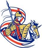Englisches Ritter-England Flag Shield-Pferd Retro- Lizenzfreie Stockbilder