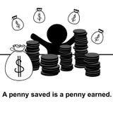 Englisches Sprichwort: Ein Penny, der gespeichert wird, ist ein erworbener Penny Stockbild