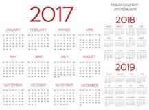 Englisches Vektorrot des Kalenders 2017-2018-2019 Lizenzfreie Stockfotos
