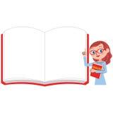 Englischlehrer und weißes Notizbuch für Frauen vektor abbildung
