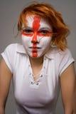 English. Football makeup girl Stock Photo