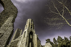 English Abbey including ruins. This is a picture of the partly ruined Wymondham Abbey, a magnificent Norman church in Norfolk UK. It was established in 1107. The Stock Photos