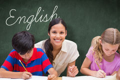 English against green chalkboard Royalty Free Stock Photo