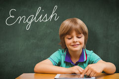 English against green chalkboard royalty free stock image