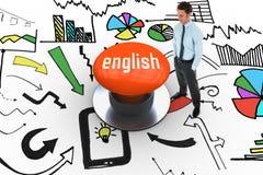 English against orange push button Stock Photo