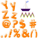 English alphabet. Alphabet with letters Y, Z, punctuation marks and symbols Stock Images