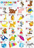 English alphabet. For children with funny animals and toys, on a white background Stock Photo