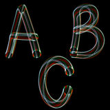 English alphabet. When taking pictures technology was used freeze-light photo Stock Photo