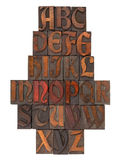 English alphabet abstract - antique type. English alphabet in vintage wooden letterpress printing blocks (Abbey typeface), vertical composition, isolated on Stock Photos