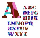 English alphabet, abstract, circles, colorful, vector font. Stock Image