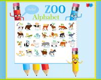 Vector alphabet poster with funny pencils. English alphabet with animals in a frame with cute pencils royalty free illustration