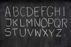 English alphabet on a blackboard Stock Photography