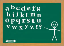 English alphabet on a blackboard. Stock Photos