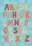 English alphabet. On blue background Stock Photography