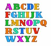 English alphabet, capital letters, colored with a thin outline. Stock Photography