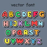 English alphabet in cartoon style. Vector illustration of funny cartoon font for design Stock Image