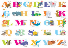 English alphabet for children with cute animals Royalty Free Stock Photo