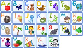 English alphabet. For children with funny pictures Stock Illustration