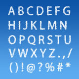 English alphabet from clouds on blue sky Royalty Free Stock Images