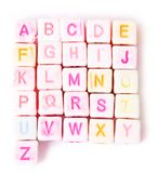 English alphabet colored cubes Royalty Free Stock Image