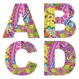 English alphabet with colorful vintage pattern Royalty Free Stock Image