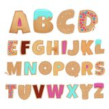 English alphabet from cookies. Biscuit alphabet text letter, abc cookie sweet, vector illustration Stock Photo