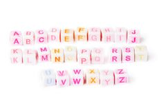 English alphabet cubes with bright letters Stock Photos