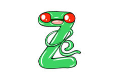 The English alphabet with cute cartoon expression. stock illustration