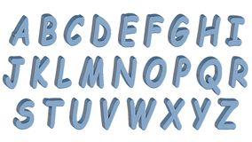 English alphabet, 3D font, uppercase. Blue comics style. Isolated, easy to use. Stock Images