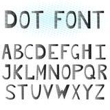 The English alphabet. Dot font. The English alphabet. Large letter. Dot font. Black letters  on white background. Vector illustration Royalty Free Stock Image