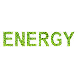 English alphabet of ENERGY made from green grass on white background Royalty Free Stock Image
