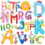 English alphabet with faces Stock Image