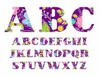 English alphabet, flowers, vector font, capital letters, violet-purple. royalty free illustration