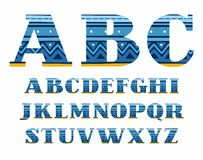 English alphabet, folk pattern, blue, vector font, capital letters. The letters of the English alphabet with serifs. Blue zigzags and stripes on a dark blue Royalty Free Stock Photo
