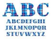 English alphabet, font, plaid, blue, vector. Royalty Free Stock Photo