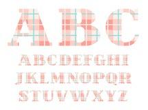 English alphabet, font, plaid, pink, vector. Stock Photos