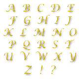 English alphabet gold color. Isolated on white background Royalty Free Stock Photos