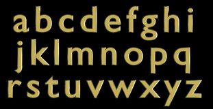 English alphabet in gold lower case letters, custom 3D font variant. Stock Images