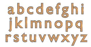 English alphabet in gold lower case letters, custom 3D font variant. Stock Photo