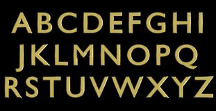 English alphabet in gold upper case letters, custom 3D font variant. Royalty Free Stock Image
