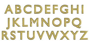 English alphabet in gold upper case letters, custom 3D font variant. Stock Photos