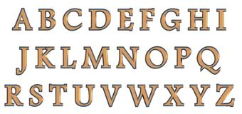English alphabet in gold upper case letters, custom 3D font variant. Royalty Free Stock Images