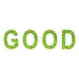 English alphabet of GOOD made from green grass on white background Royalty Free Stock Images