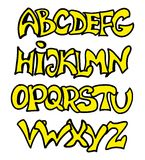 English alphabet in graffiti style. Vector illustration of English alphabet in graffiti style Stock Photography