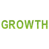 English alphabet of GROWTH made from green grass on white background for isolated Stock Photo