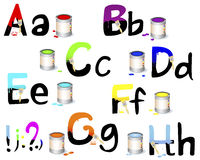 English alphabet A-H. Not fully painted letters with paint dripping, brushes and paint cans. Vector illustration Royalty Free Stock Image
