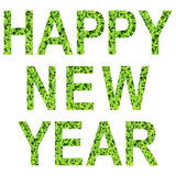 English alphabet of HAPPY NEW YEAR. made from green grass on white background for isolated. With clipping path, Capital letter and small letter from green grass stock images
