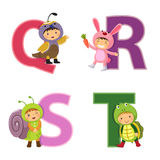 English alphabet with kids in animal costume, Q to T letters Stock Image